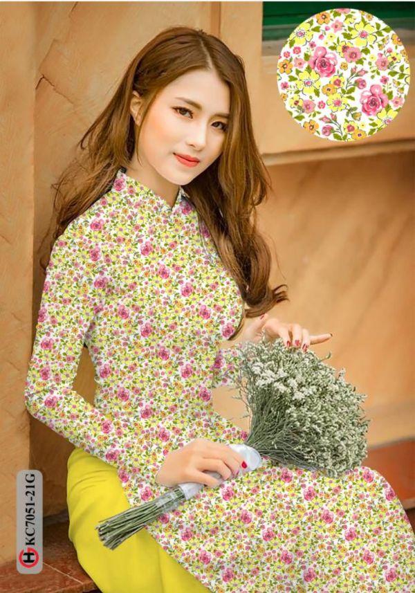Vải áo dài hoa nhí AD KC7051 12