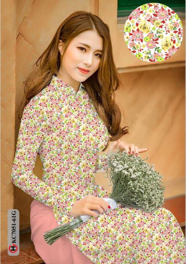Vải áo dài hoa nhí AD KC7051 3