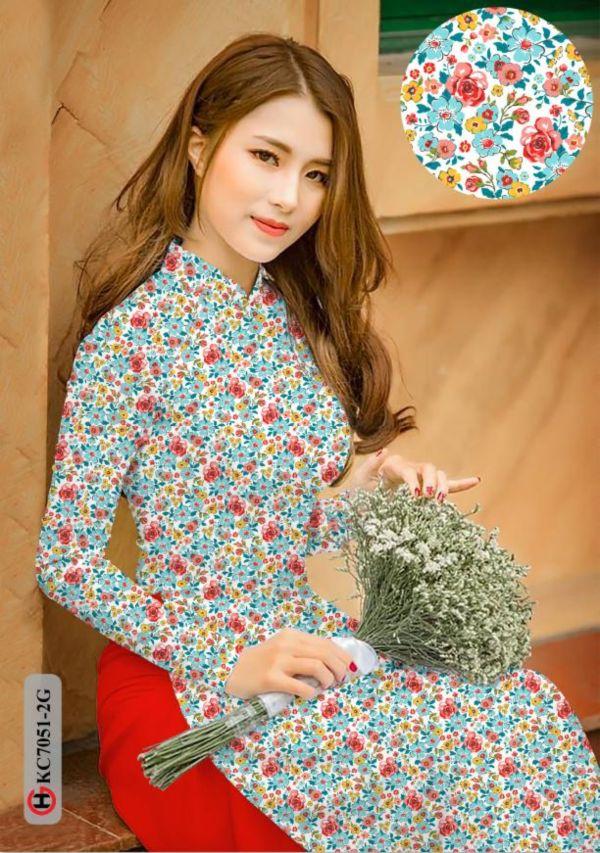 Vải áo dài hoa nhí AD KC7051 14