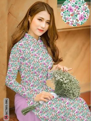 Vải áo dài hoa nhí AD KC7051 20