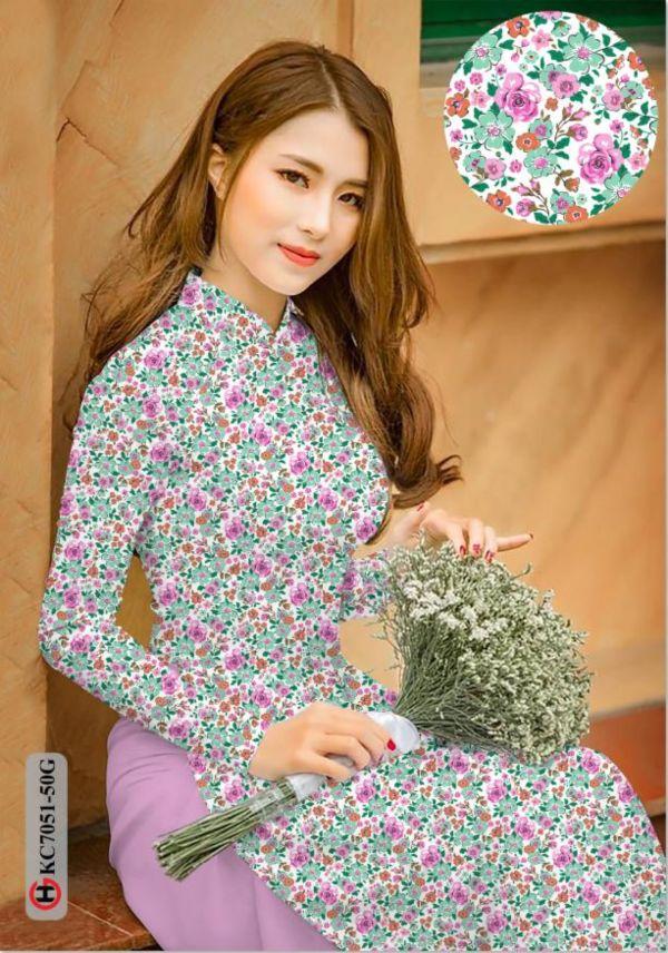 Vải áo dài hoa nhí AD KC7051 7