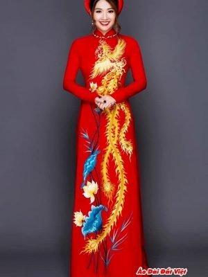 vải áo dài vẽ tay chim phụng và hoa sen