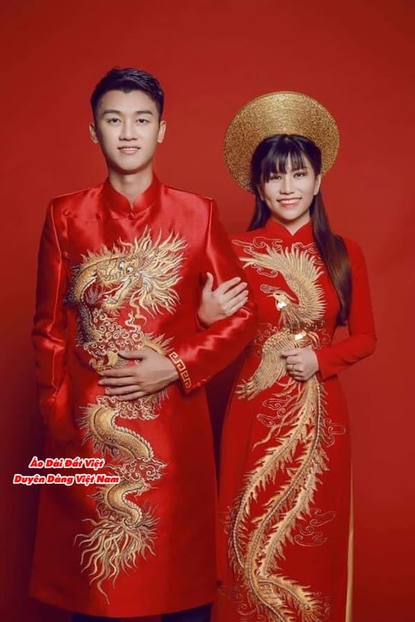 áo dài cặp đôi rồng phượng