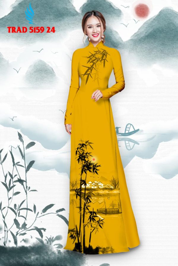 Vải áo dài hình cây tre trúc AD TRAD 5159 15