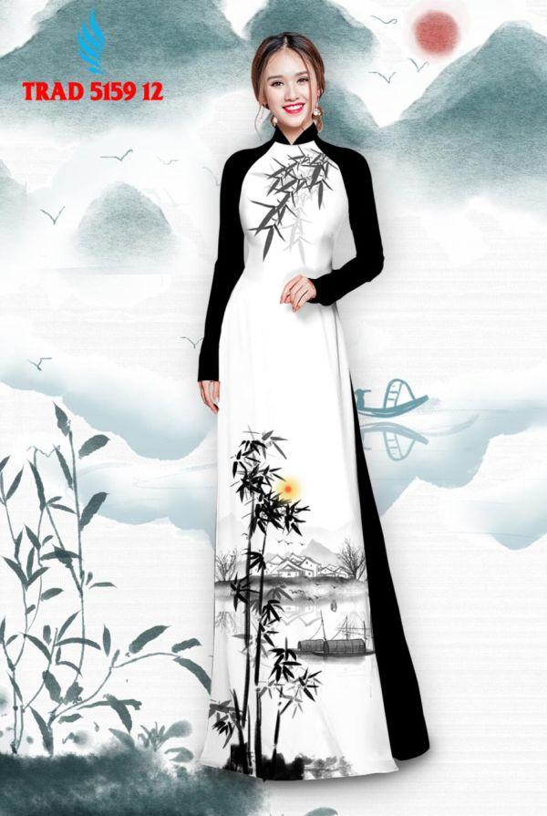 Vải áo dài hình cây tre trúc AD TRAD 5159 3