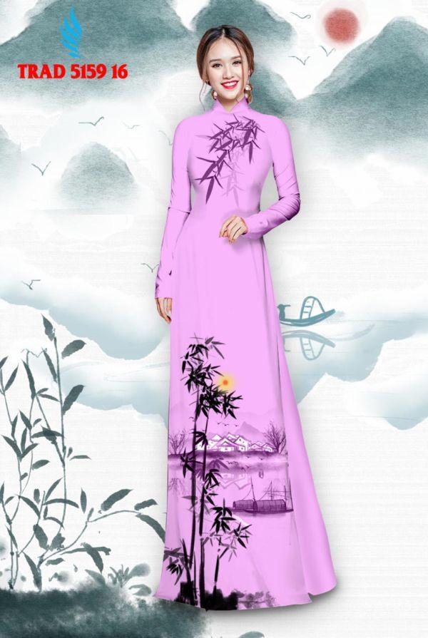 Vải áo dài hình cây tre trúc AD TRAD 5159 7