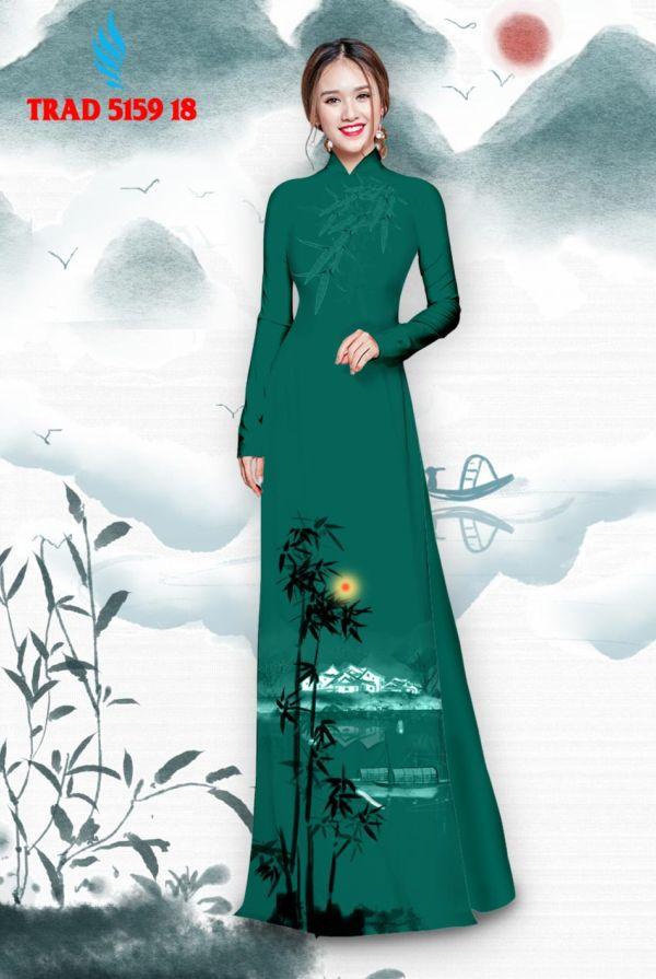 Vải áo dài hình cây tre trúc AD TRAD 5159 9