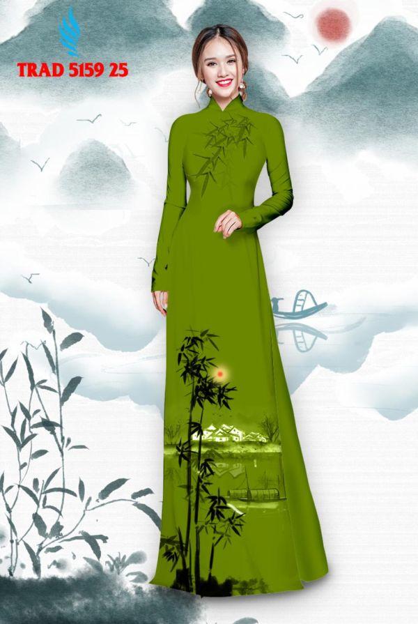 Vải áo dài hình cây tre trúc AD TRAD 5159 16