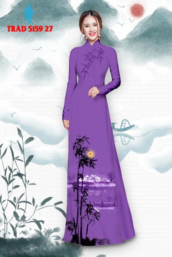 Vải áo dài hình cây tre trúc AD TRAD 5159 18