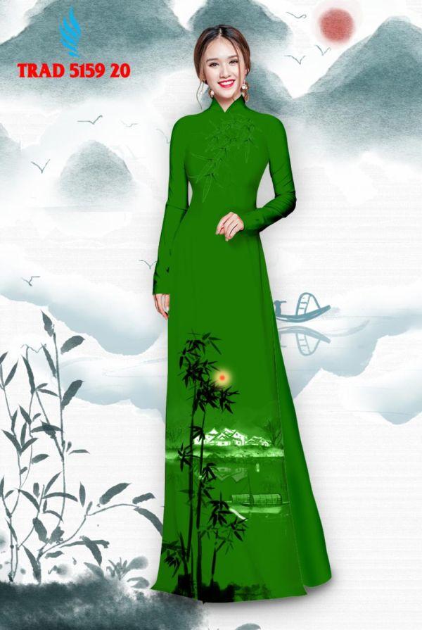 Vải áo dài hình cây tre trúc AD TRAD 5159 11