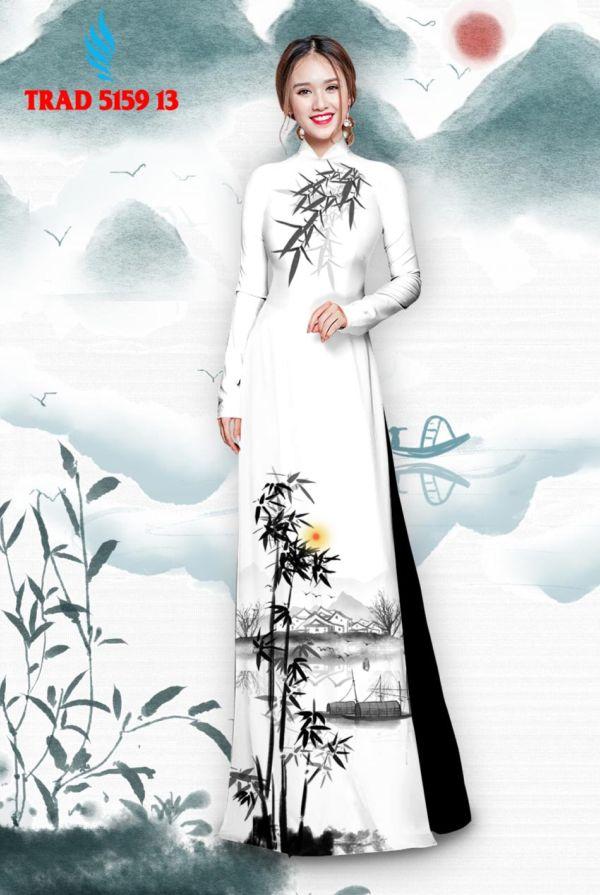 Vải áo dài hình cây tre trúc AD TRAD 5159 4
