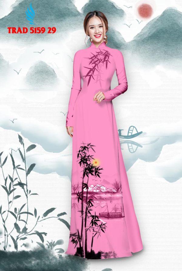 Vải áo dài hình cây tre trúc AD TRAD 5159 20