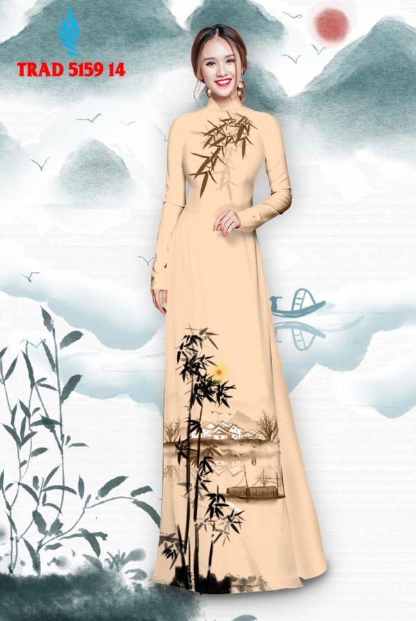 Vải áo dài hình cây tre trúc AD TRAD 5159 5