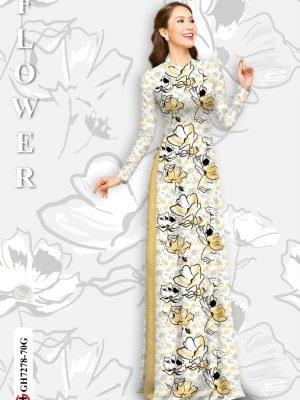 Vải áo dài hoa in 3D AD GH7278 16