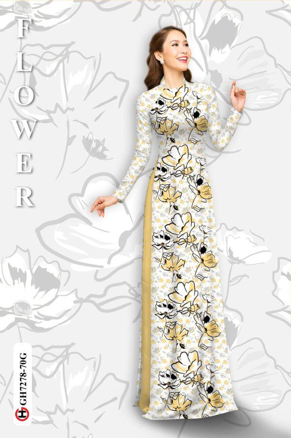 Vải áo dài hoa in 3D AD GH7278 2
