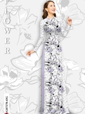 Vải áo dài hoa in 3D AD GH7278 18