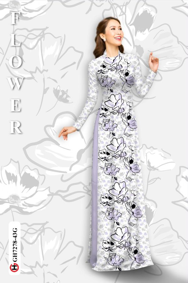 Vải áo dài hoa in 3D AD GH7278 4