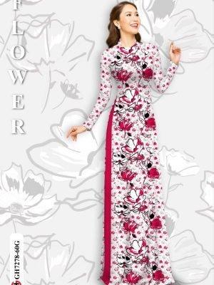 Vải áo dài hoa in 3D AD GH7278 24