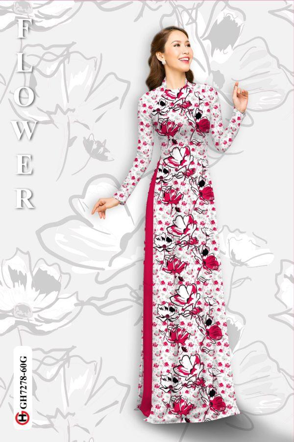 Vải áo dài hoa in 3D AD GH7278 10