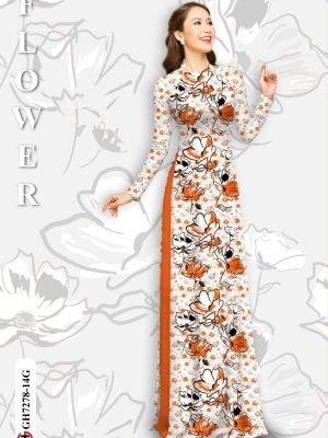 Vải áo dài hoa in 3D AD GH7278 19