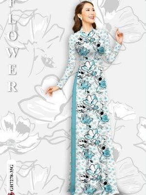 Vải áo dài hoa in 3D AD GH7278 17
