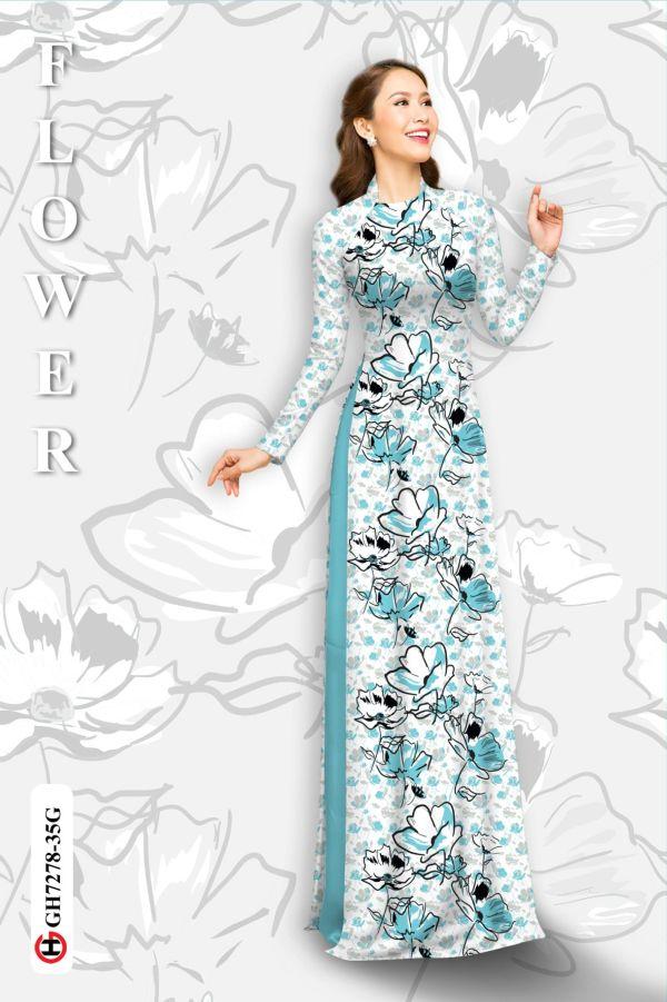 Vải áo dài hoa in 3D AD GH7278 3
