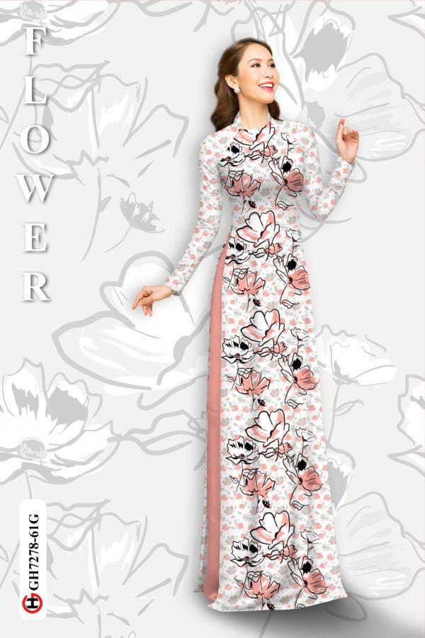 Vải áo dài hoa in 3D AD GH7278 14