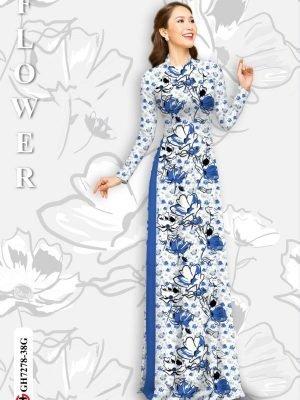 Vải áo dài hoa in 3D AD GH7278 23