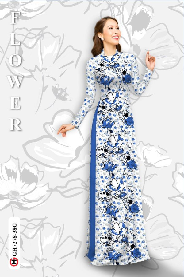 Vải áo dài hoa in 3D AD GH7278 9