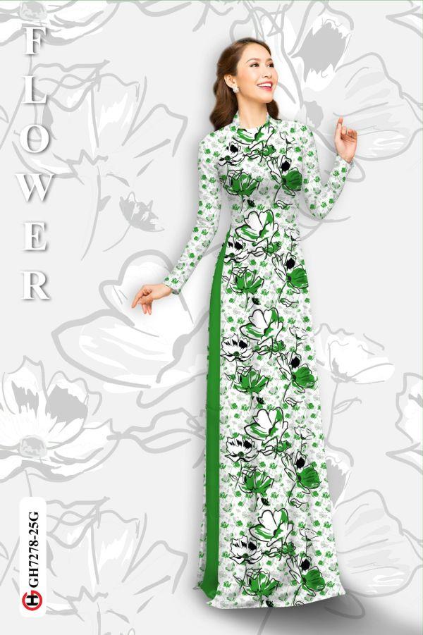 Vải áo dài hoa in 3D AD GH7278 8