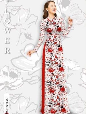 Vải áo dài hoa in 3D AD GH7278 20