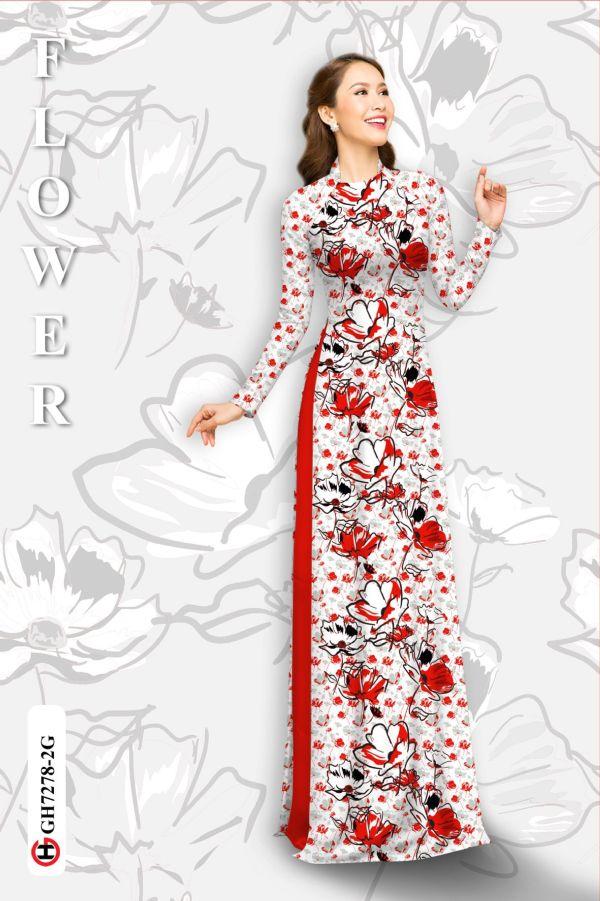 Vải áo dài hoa in 3D AD GH7278 6