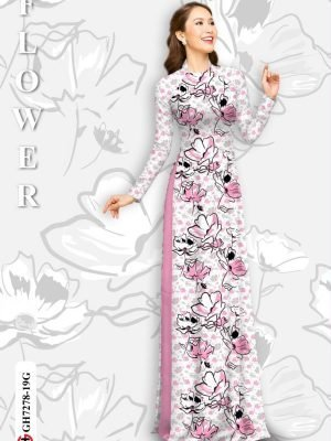 Vải áo dài hoa in 3D AD GH7278 26