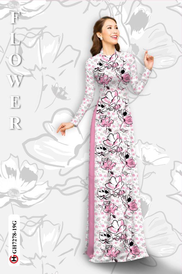 Vải áo dài hoa in 3D AD GH7278 12