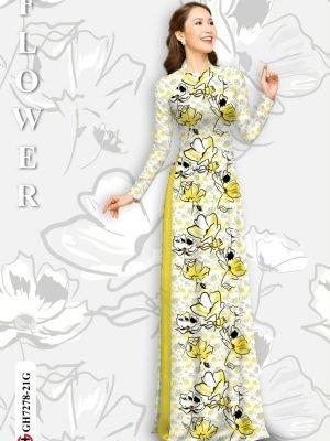 Vải áo dài hoa in 3D AD GH7278 21