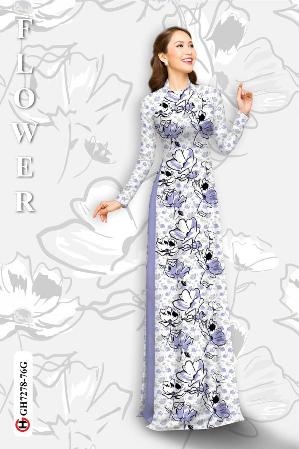 Vải áo dài hoa in 3D AD GH7278 15