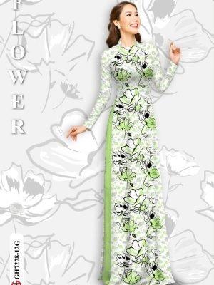Vải áo dài hoa in 3D AD GH7278 25