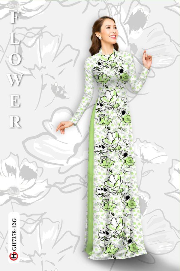 Vải áo dài hoa in 3D AD GH7278 11