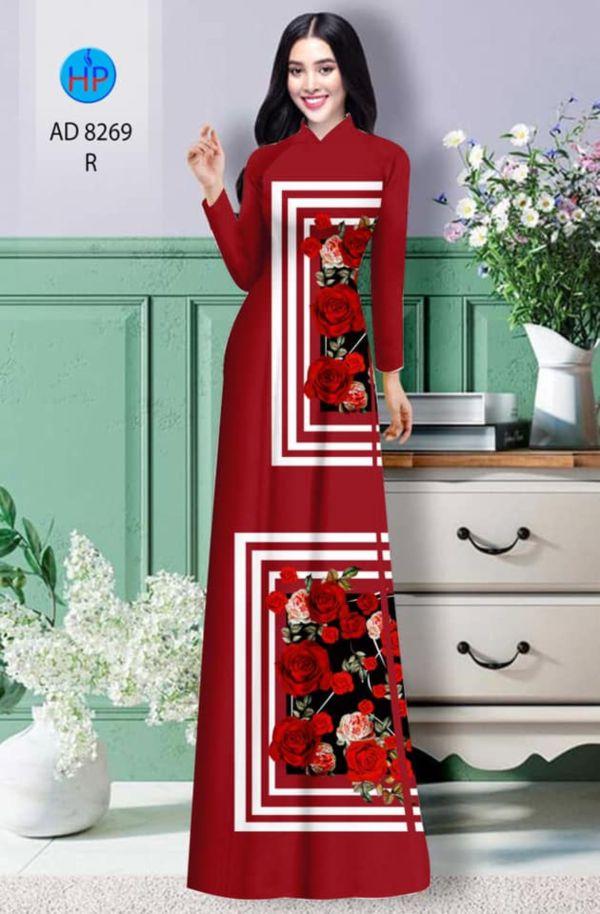 Vải áo dài hoa hồng AD 8269 4