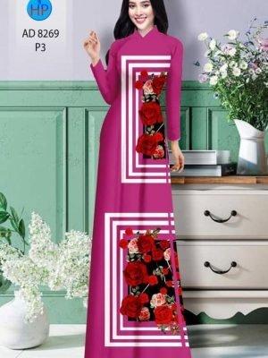Vải áo dài hoa hồng AD 8269 23