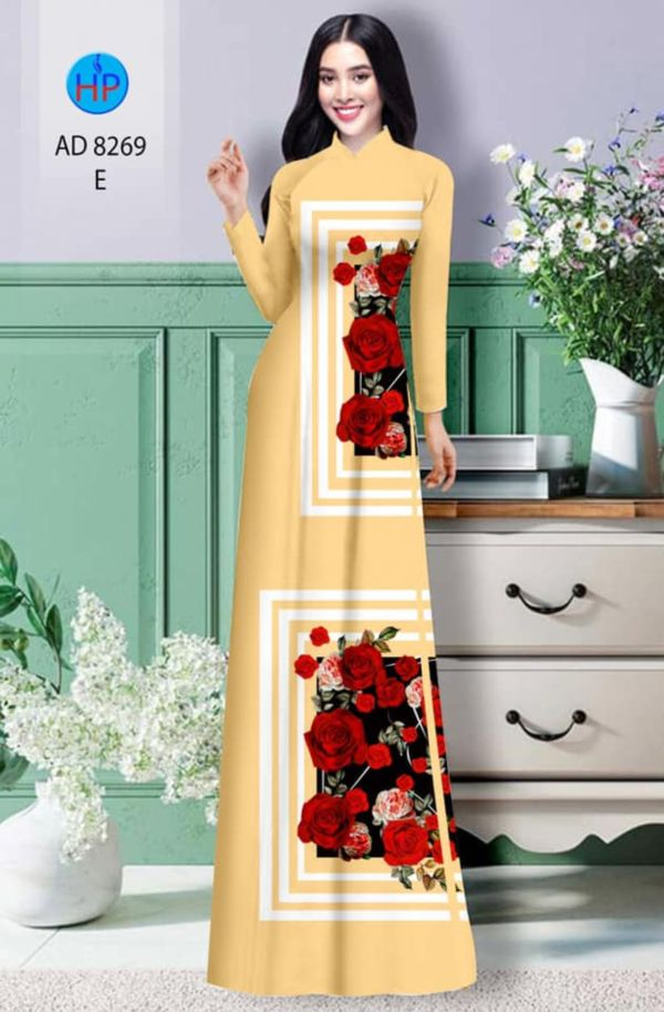 Vải áo dài hoa hồng AD 8269 3