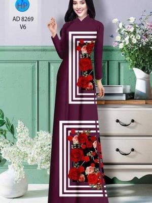 Vải áo dài hoa hồng AD 8269 19