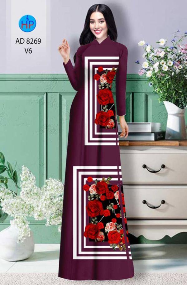 Vải áo dài hoa hồng AD 8269 2