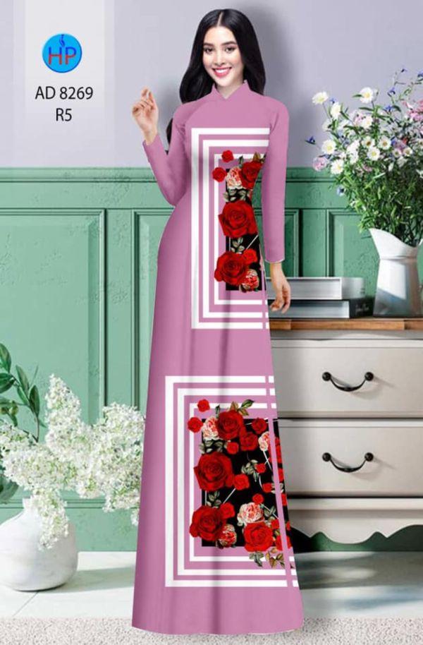 Vải áo dài hoa hồng AD 8269 14