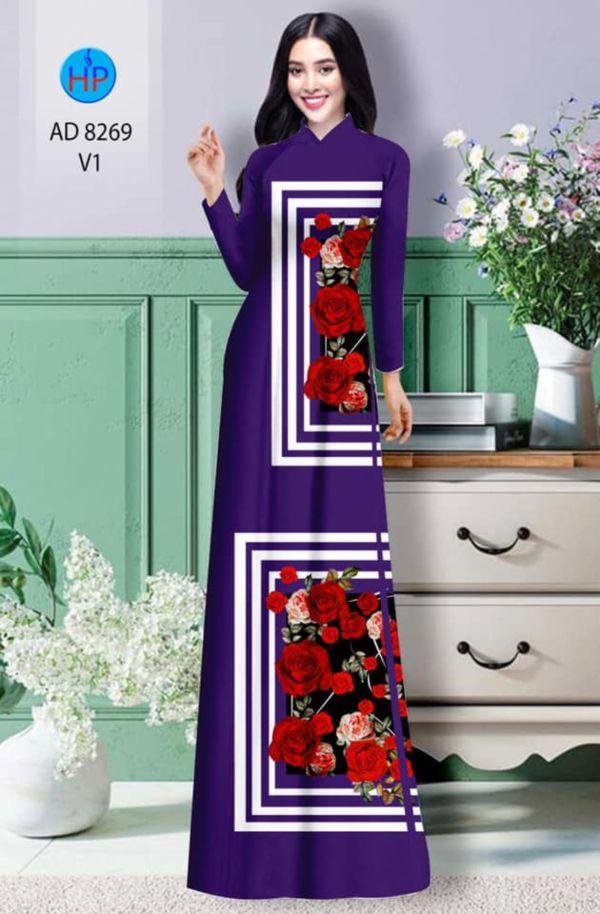 Vải áo dài hoa hồng AD 8269 8