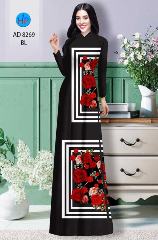 Vải áo dài hoa hồng AD 8269 7