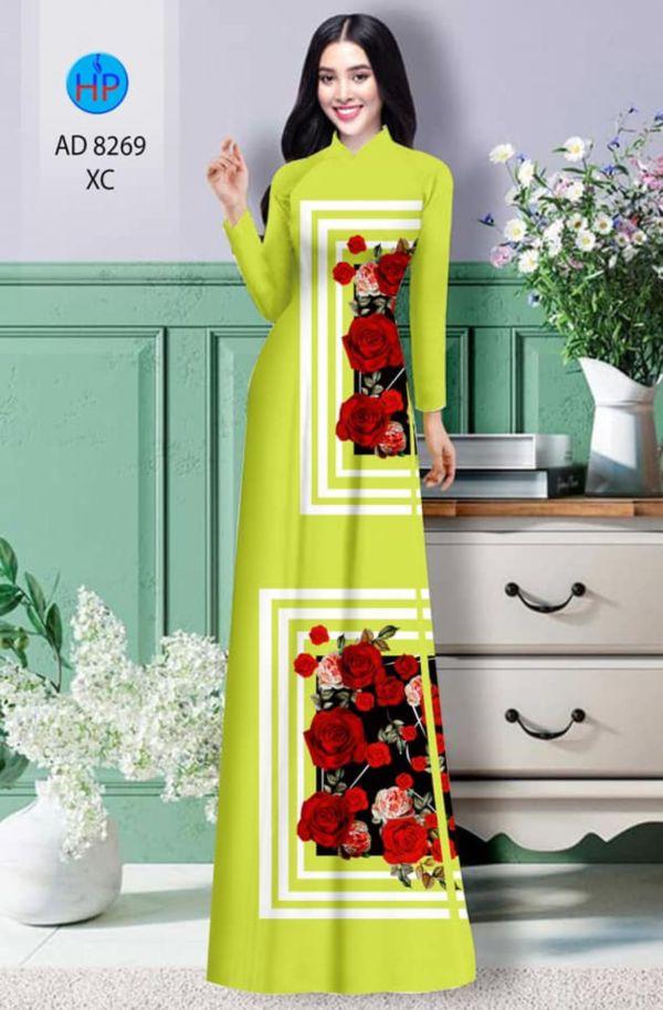 Vải áo dài hoa hồng AD 8269 1