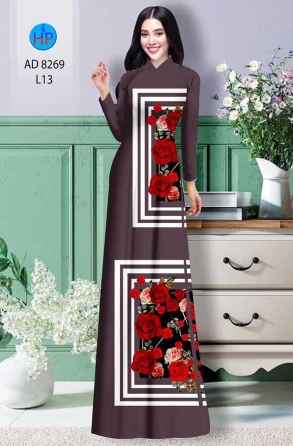Vải áo dài hoa hồng AD 8269 9
