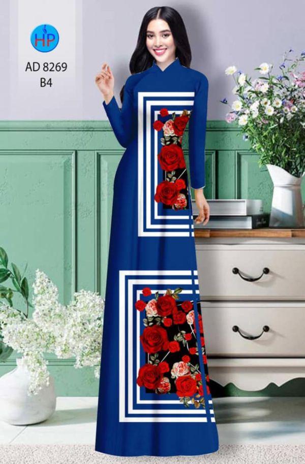 Vải áo dài hoa hồng AD 8269 18