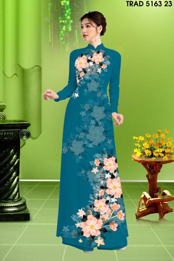 Vải áo dài hoa in 3D AD TRAD 5163 14